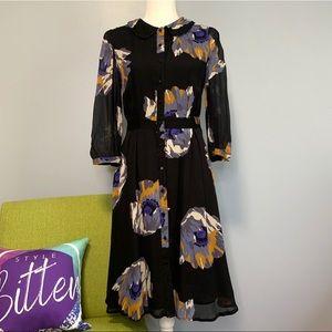 Boden Black Floral Button Up Chiffon Dress